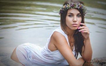 flowers, lake, girl, look, hair, face, wreath, paula