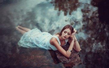 lake, girl, dress, bracelet, closed eyes, aina