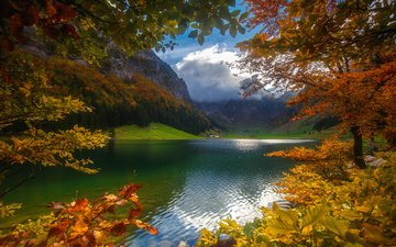 the sky, clouds, trees, lake, mountains, forest, autumn