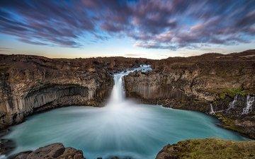 озеро, река, скалы, исландия