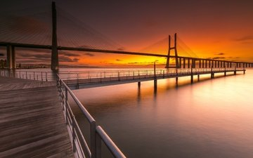 water, landscape, bridge, pierce, portugal, lisbon, cable-stayed bridge, vasco da gama bridge, bridge vasco da gama