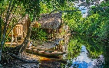 река, лодка, дом, джунгли, хижина, венесуэла, ориноко