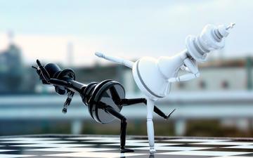 шахматы, доска, фигуры, драка