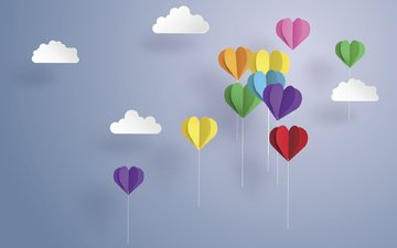 clouds, paper, balls, origami, figures, balloons