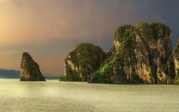 небо, горы, скалы, природа, море, острова, бухта, тропики, вьетнам, халонг, julvar
