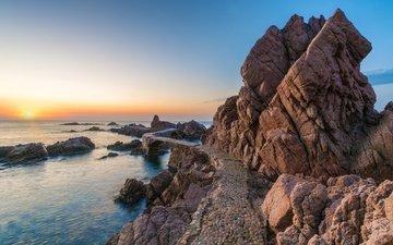 скалы, море, побережье, испания, каталония, urbanitzacio rosamar