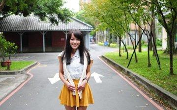 girl, smile, summer, look, hair, face, asian