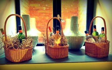 style, coffee, basket, brick, window, wine, straw, vases, baskets, podokonnik, azimuth