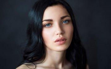 girl, look, hair, face, blue eyes, makeup