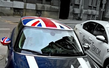 the city, street, auto, house, england, flag, parking, taxi, mini, minicooper
