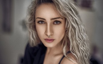 girl, blonde, portrait, look, hair, face, nose rings