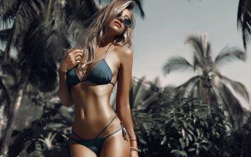 blonde, portrait, palm trees, women, belly, hip, lush, sunglasses, women outdoors, depth of field, tanned