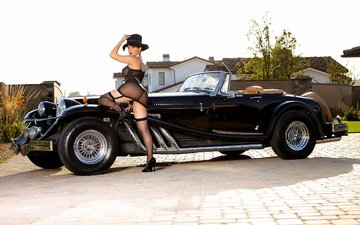 girl, car, convertible, roadster, mercedes, model, one thousand nine hundred thirty five, cabriolet