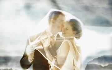 girl, smile, guy, pair, hug, tenderness, bracelet, wedding, veil
