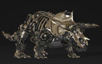 metal, details, 3d, triceratops