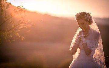 wedding, the bride, wedding dress