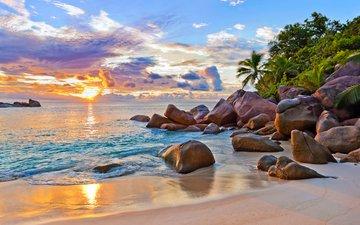 закат, море, пляж, остров, тропики, сейшелы
