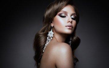девушка, портрет, взгляд, модель, волосы, лицо, макияж, сёрьги