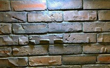 light, wall, lamp, backlight, brick, brickwork