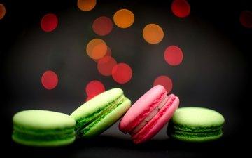 печенье, десерт, зеленое, боке, розовое, макарун, макаруны