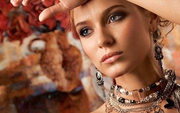 украшения, девушка, портрет, модель, лицо, сёрьги, ожерелье, бижутерия, рыжеволосая
