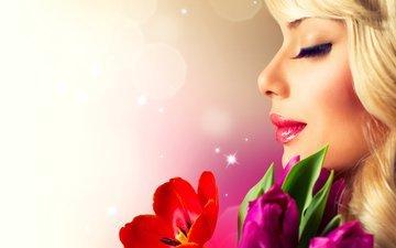 цветы, девушка, профиль, весна, тюльпаны, ресницы