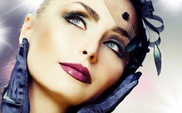 глаза, взгляд, модель, губы, лицо, макияж, помада, перчатки, вуаль