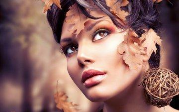 девушка, портрет, взгляд, волосы, лицо