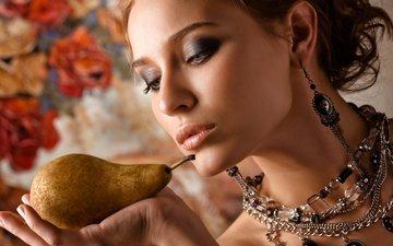 украшения, девушка, портрет, груша, боке