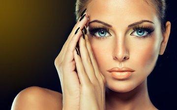 глаза, девушка, портрет, взгляд, модель, губы, лицо, голубые глаза, макияж, женщина, грань, маникюр, взор, грим, голые плечи, gевочка, модел