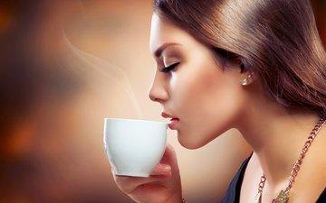 девушка, портрет, кофе, модель, профиль, волосы, лицо, чашка, украшение, закрытые глаза, анна субботина, аромат кофе