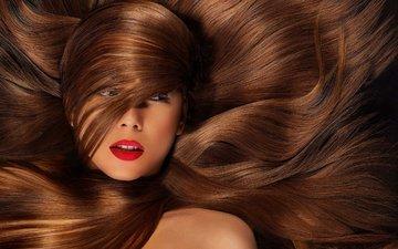 девушка, портрет, взгляд, модель, лицо, красная помада, длинные волосы, голые плечи
