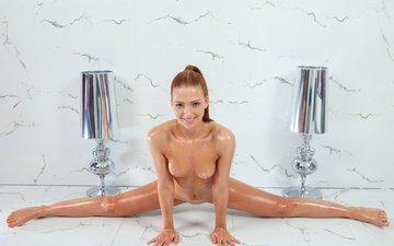 девушка, ножки, голая, шпагат
