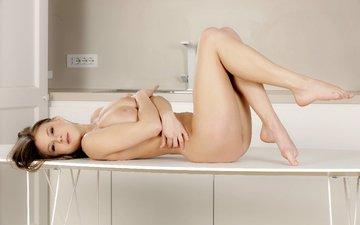 девушка, лежит, голая