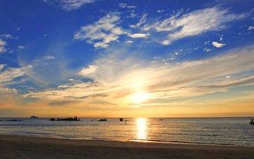закат, море, пляж, 2