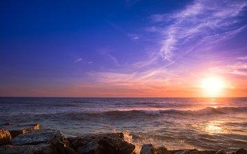 камни, закат, море, 3