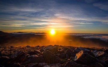 камни, закат, пейзаж, 2