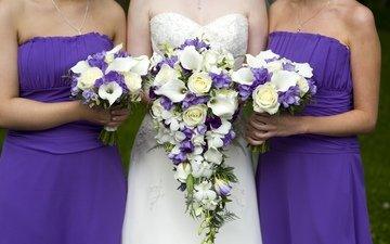 flowers, dress, roses, purple, bouquet, bride, the bride, friend, wedding, freesia