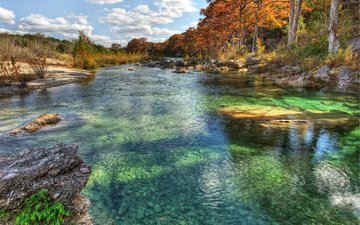 trees, stones, autumn, usa, river, texas