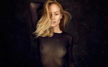 девушка, поза, взгляд, грудь, волосы, фигура, сиськи, соски