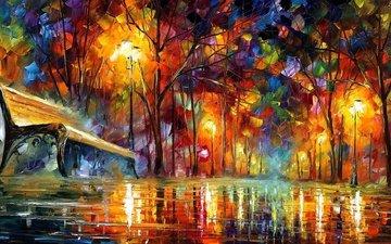 wallpaper, oil, canvas, 3d graphics, original, leonid afremov, impressionism, palette knife