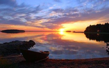 озеро, закат, лодка