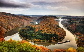 landscape, autumn, forest, river, germany