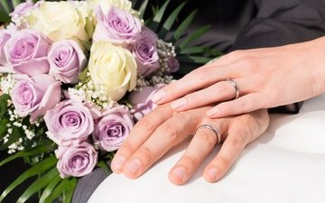roses, love, bouquet, hands, ring, wedding