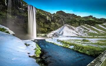 трава, скалы, снег, мост, водопад, исландия