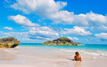 girl, sea, beach, 11