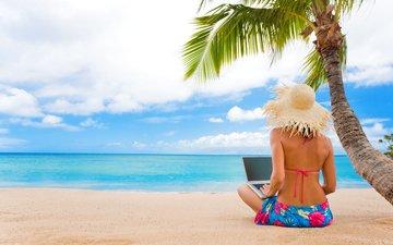 girl, sea, beach, tropics, 17