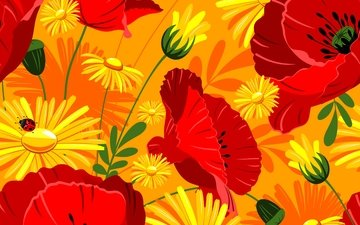flowers, maki, bright, red, yellow, and, marigolds