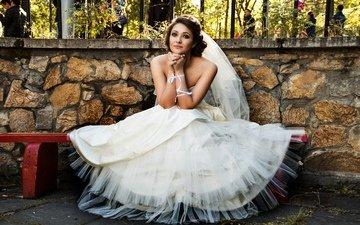 девушка, платье, смотрит, взгляд, в белом, невеста, свадебное платье