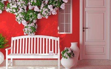 lavochka-cvety-vazy-dver